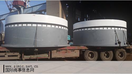 青山船厂建造的风电塔筒钢结构项目首批基础环成功